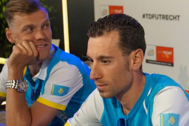 The defending champion Vincenzo Nibali with Dutch team-mate Lars Boom in the background... before the news of Boom's possible exclusion was made public. Photo: Jack Lynch