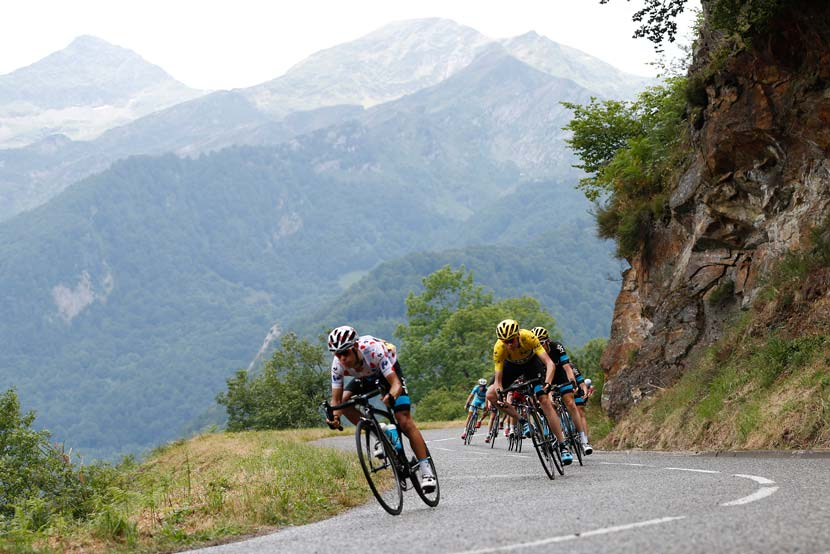 There were four climbs in stage 12 and the double points on offer means that first and second at Plateau de Beille leapfrog into second and third in the climbing classification. Froome still leads this but the stage winner today, Joaquin Rodriguez, will wear the spotted top in stage 13.  Richie Porte, leading Froome in this photo, is now ranked fourth. Photo: Yuzuru Sunada.