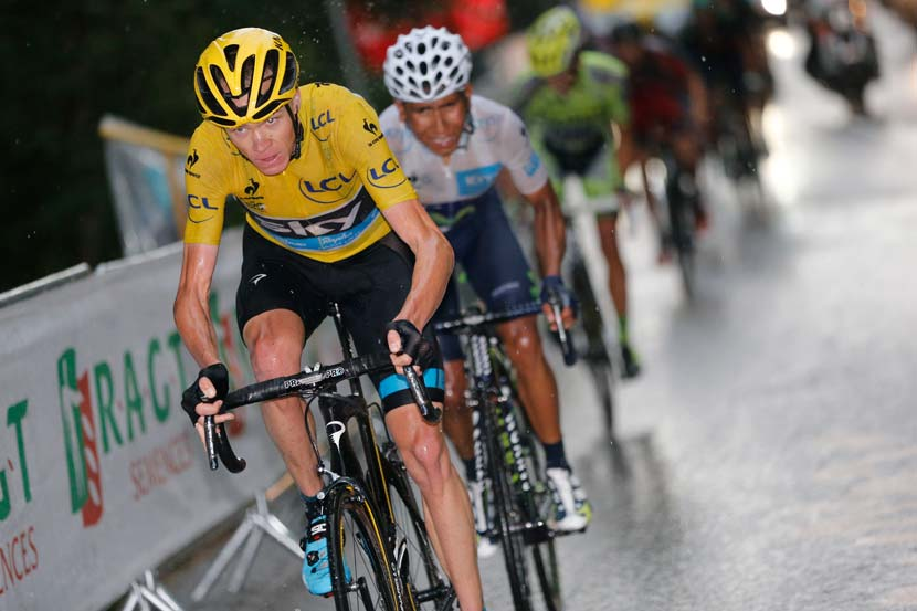 There was a series of attacks from the yellow jersey's group on the climb to Plateau de Beille but it all settled down before the finish and the favourites reached the line in one group. Still, Froome admits his biggest threat is the runner-up from 2013, Nairo Quintana. Photo: Yuzuru Sunada.