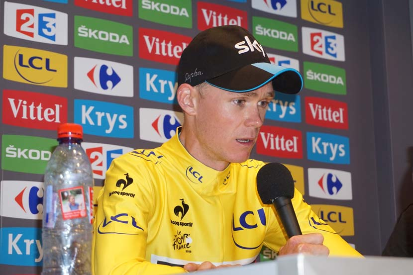 Chris Froome after winning stage 10 in the yellow jersey and increasing his advantage over Tejay van Garderen. The Team Sky leader now has a lead of 2:52 over the American from BMC Racing. Photo: Rob Arnold