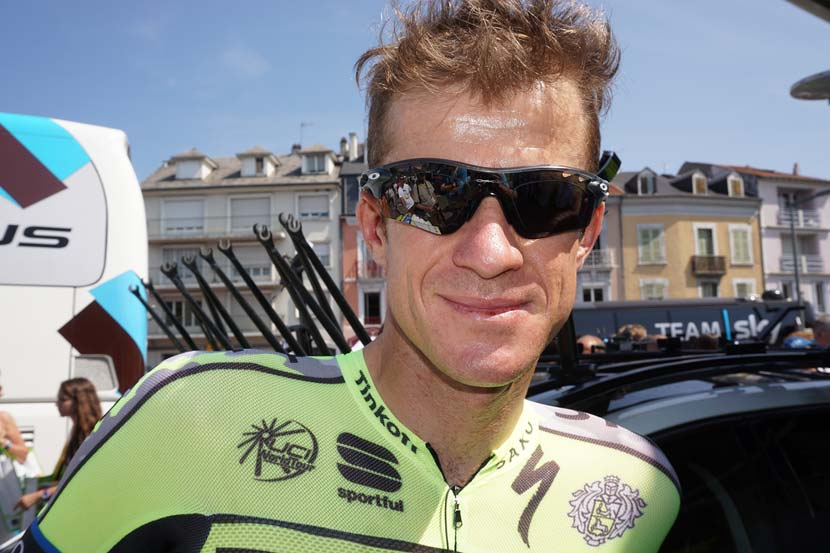 Mick Rogers emerged from the Tinkoff-Saxo team bus in Tarbes about 30 minutes before sign on. Like everyone else on Tour, he has concerns for the well being of Ivan Basso and although the two are friends and team-mates, the Australian didn't have any news about the news from yesterday... Photo: Rob Arnold