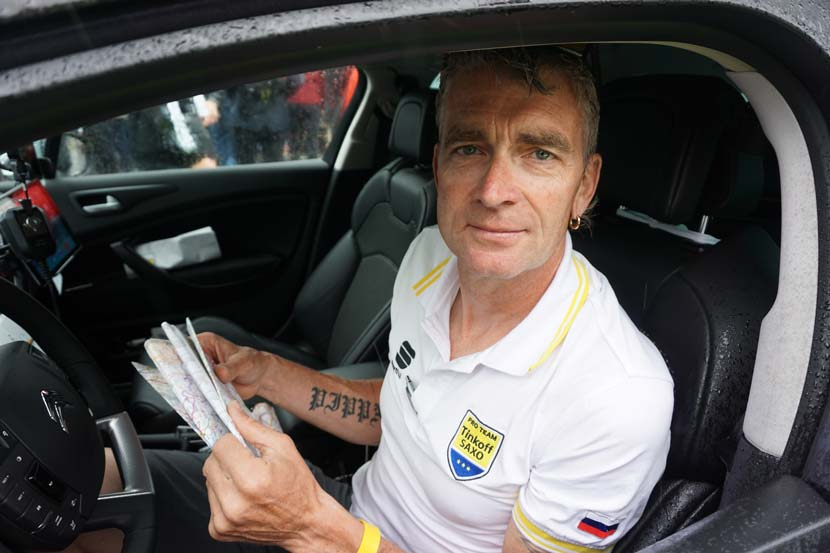 Sean Yates gets ready for stage five of the 2015 Tour de France. Photo: Rob Arnold
