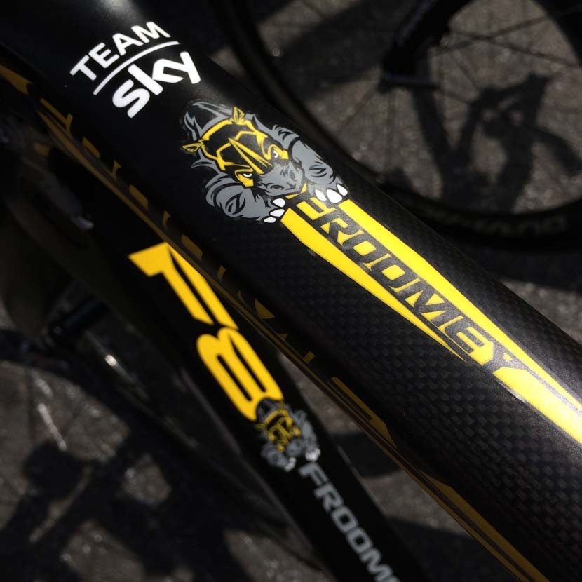 The new graphics on Chris Froome's Pinarello bike. Photo: Rob Arnold