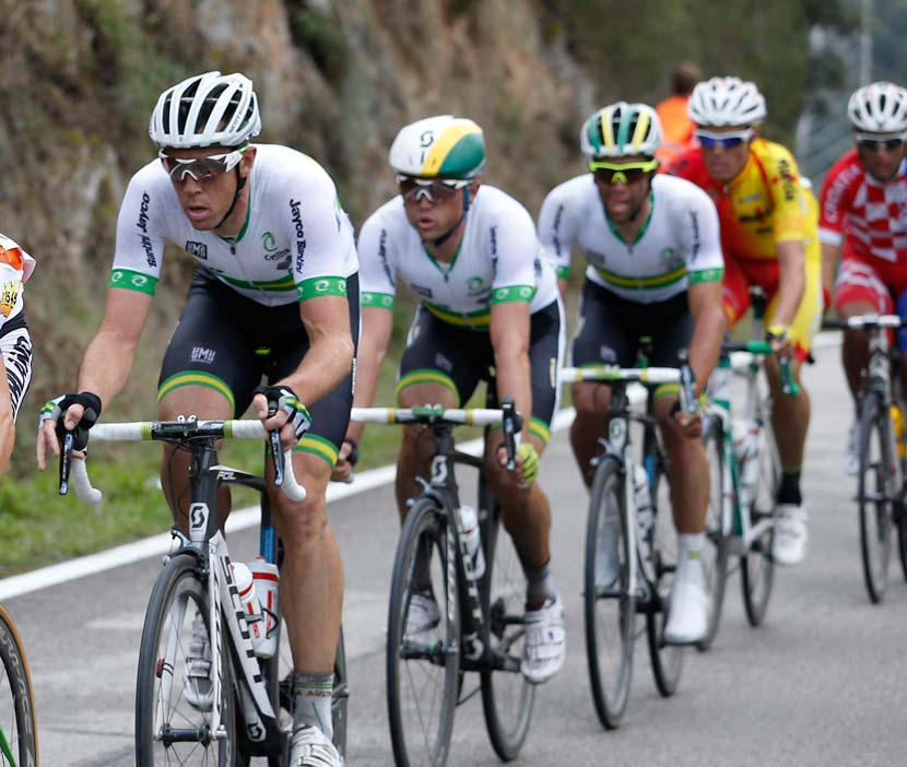 Hayman, Gerrans and Matthews during the race in Ponferrada last September... Gerrans was the runner-up. Photo: Yuzuru Sunada