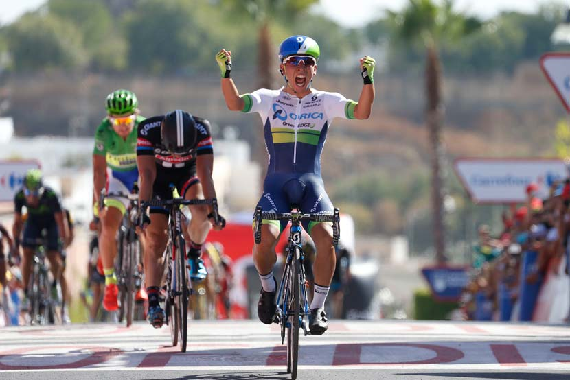 Caleb Ewan wins stage five of the Vuelta ahead of John Degenkolb and Peter Sagan. Photo: Yuzuru Sunada
