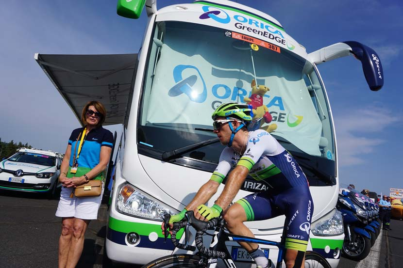 Simon Yates returns to the team bus after a stage of this year's Tour. The Brit is one of the GC riders that Gerry Ryan hopes will provide success for his team in the years to come. Photo: Rob Arnold