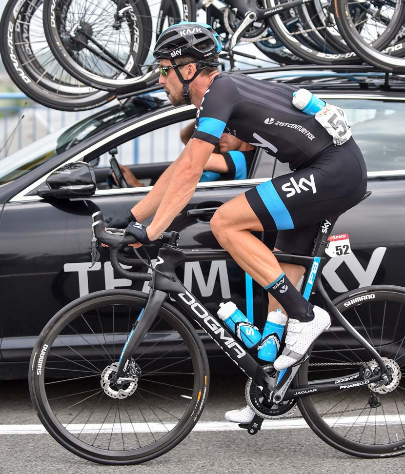 Bernhard Eisel is the first rider to use the Shimano disc brake system in the pro peloton. Photo: Graham Watson