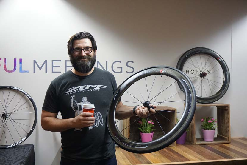 Michael Hall, his coffee cup and a pair of wheels...  Photo: Jack Lynch