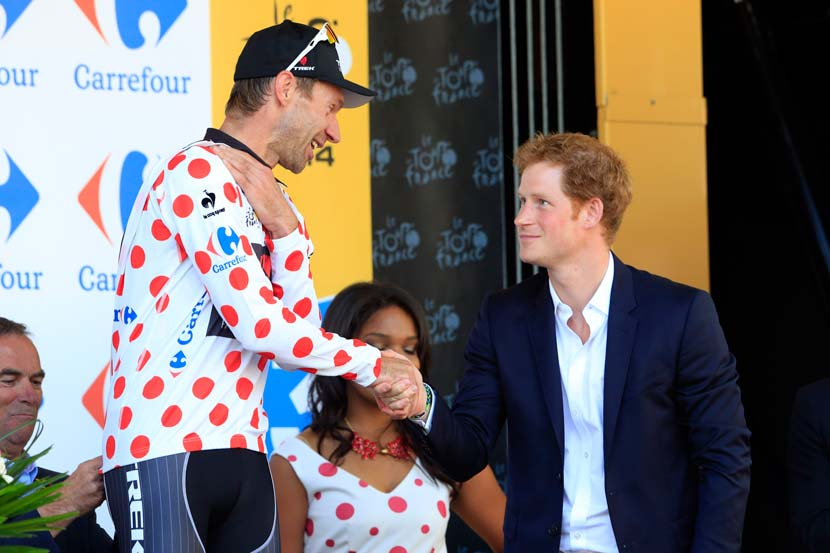 Cycling. Royalty. Jens Voigt and Prince Harry after stage one of the 2014 Tour de France. The King of the Hills in royal company. Photo: Graham Watson