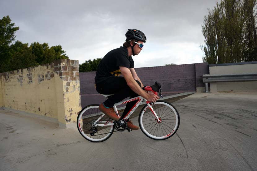 Jack usually rides a 53cm top tube. He likes a small frame... but this test ride proved to be something of a challenge.