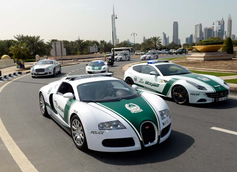 The recently established Dubai Tour offers local police a chance to show off some of their more interesting vehicles, like their Bugatti and Ferrari fleet... Photo: Graham Watson