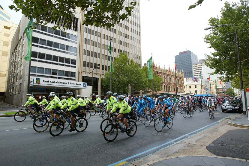 The South Australian police force provides an invaluable service for the Tour Down Under... and, in turn, it receives a strong PR boost each January. Photo: Yuzuru Sunada