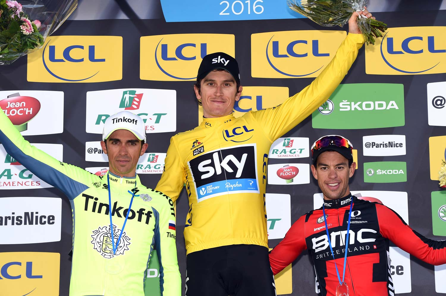 The final podium of the 2016 Paris-Nice: Alberto Contador (2nd), Geraint Thomas (1st) and Richie Porte (3rd). Photo: Graham Watson