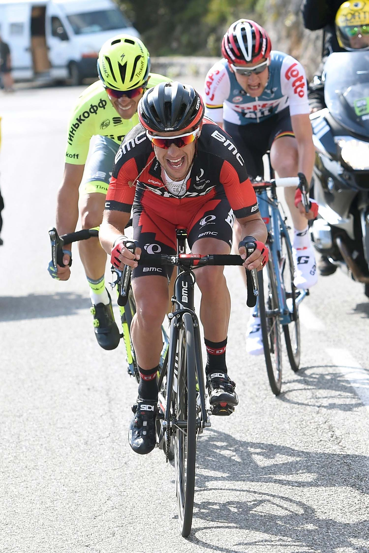 Richie Porte on the attack in stage seven of Paris-Nice with Alberto Contador and Tim Wellens. Photo: Graham Watson