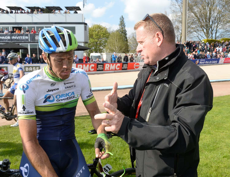 2014: with Shayne Bannan after his first Roubaix with Orica-GreenEdge. Photo: Yuzuru Sunada