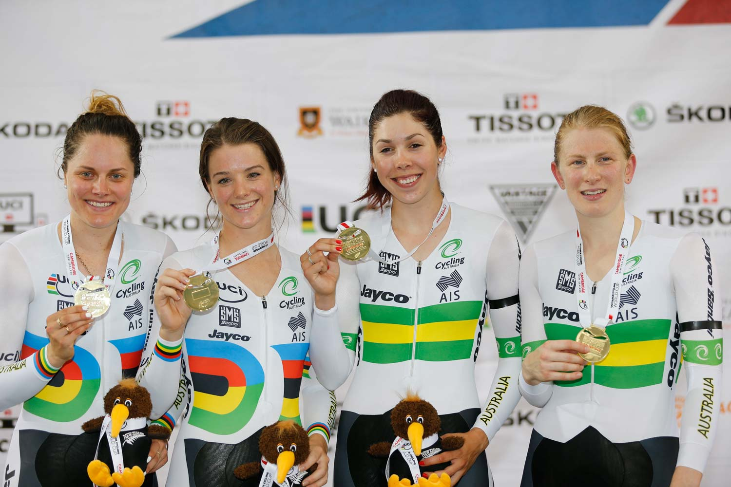 Ashlee Ankudinoff, Amy Cure, Georgia Baker and Isabella King at the New Zealand round of the World Cup. Photo: Yuzuru Sunada