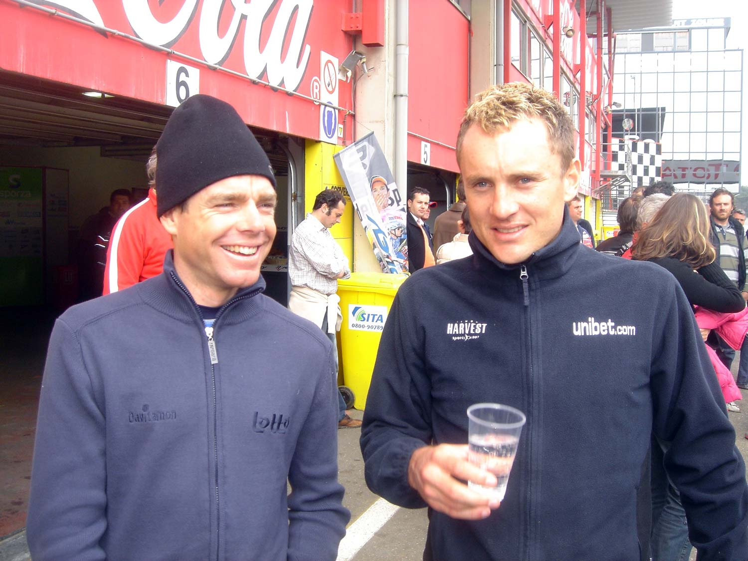 At the Zolder racetrack on 20 April 2006. Cadel Evans and Baden Cooke. Photo: Rob Arnold