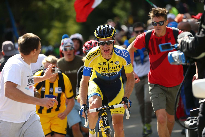 Rogers on the way to victory in stage 20 of the 2014 Giro d'Italia. Photo: Yuzuru Sunada