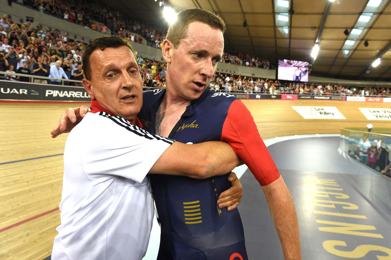 Salzwedel and Bradley Wiggins after the successful hour record ride... Photo: Graham Watson