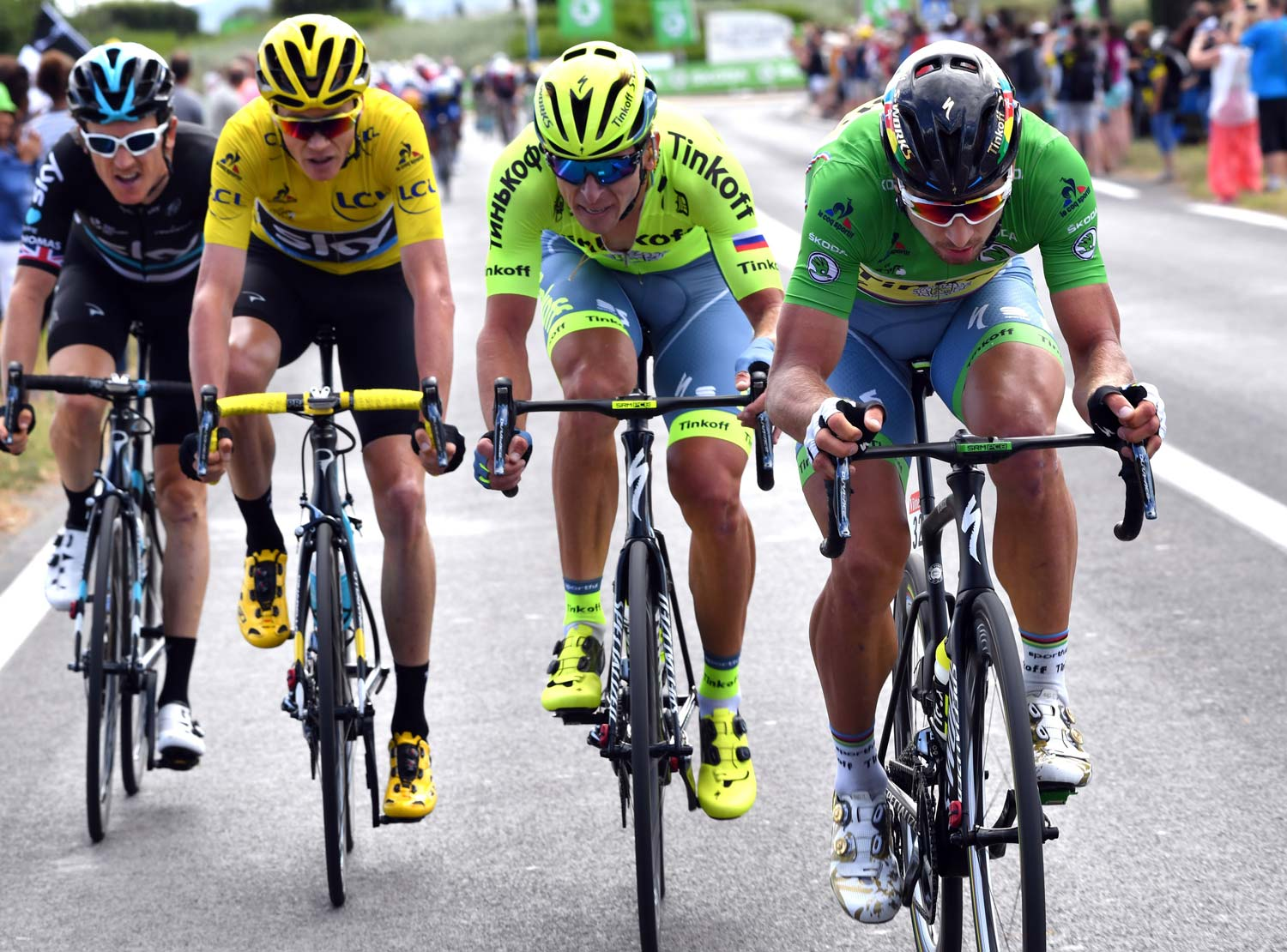 From left to right: Geraint Thomas, Chris Froome, Maciej Bodnar and Peter Sagan. Photo: Graham Watson