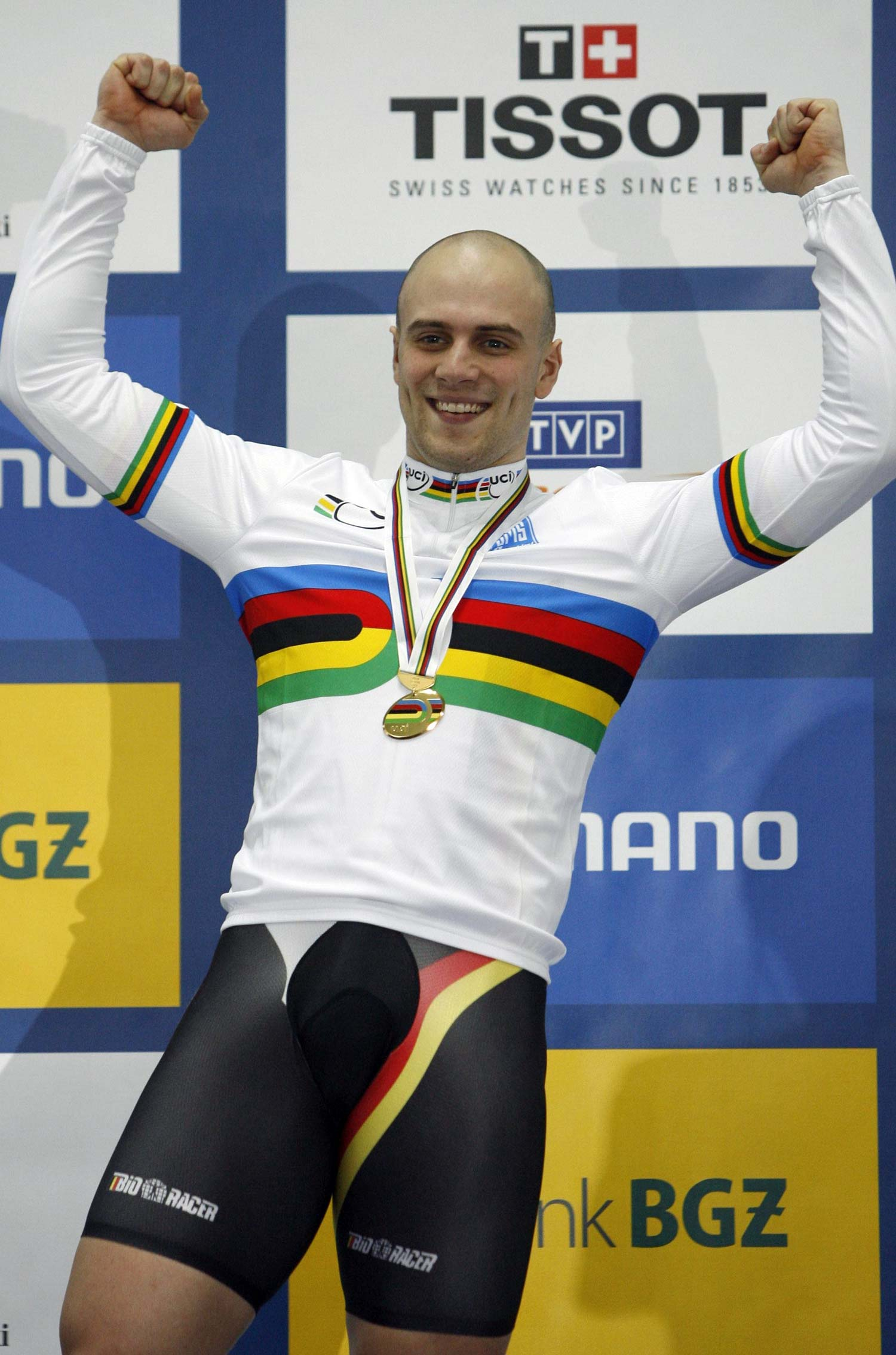 Maximillian Levy on the podium to receive his gold medal from the keirin at the 2009 world championships. Photo: Graham Watson