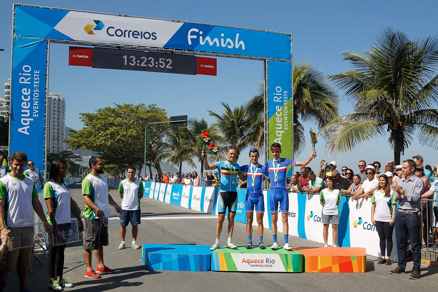 The podium of last year's Rio test event road race: Serge Pauwels (3rd), Alexis Vullermoz (1st) and Romain Bardet (2nd). Photo: Graham Watson