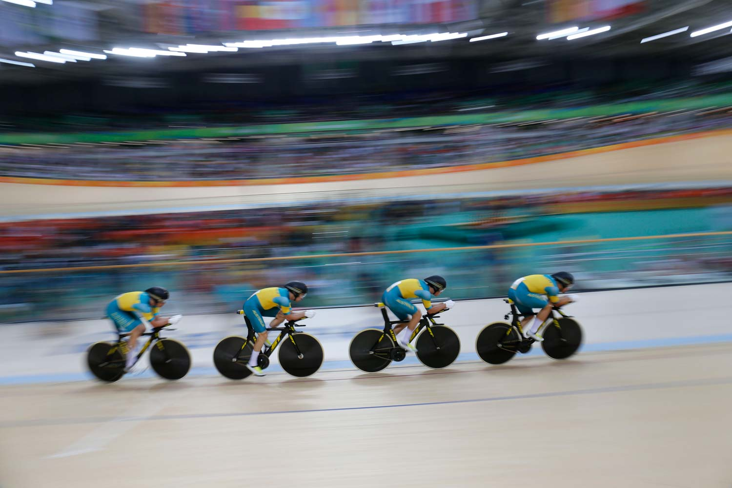 The Australian team pursuit quartet in action on the Olympic velodrome. The men's team earned one of just two medals for the Australian cycling team at the Games in Rio. Photo: Yuzuru Sunada
