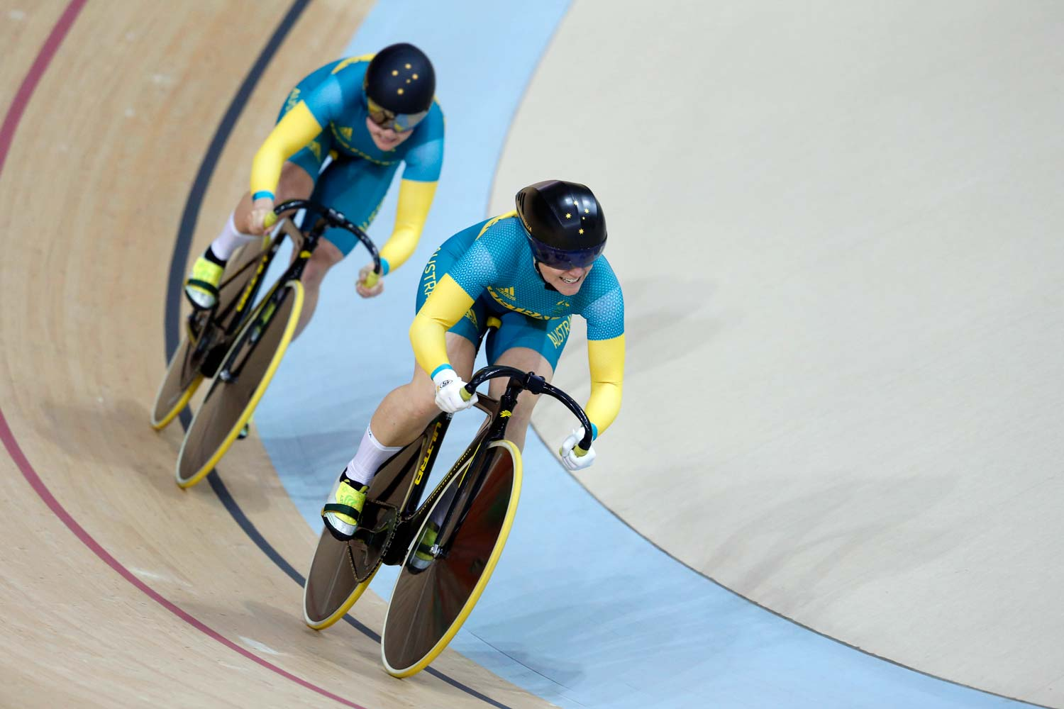 Anna Meares in the team sprint. She'd miss out on a medal in this discipline but collect bronze in the keirin – making it four successive Olympic Games in which she has won a medal. Photo: Yuzuru Sunada