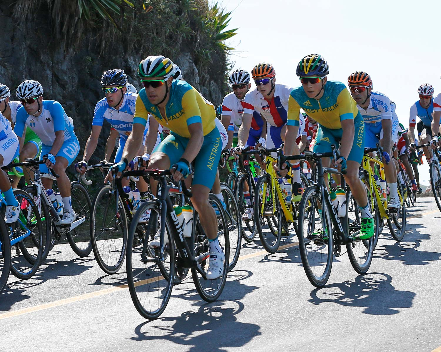 Two Tasmanians in action in the Rio road race – Richie Porte and Scott Bowden. Photo: Yuzuru Sunada