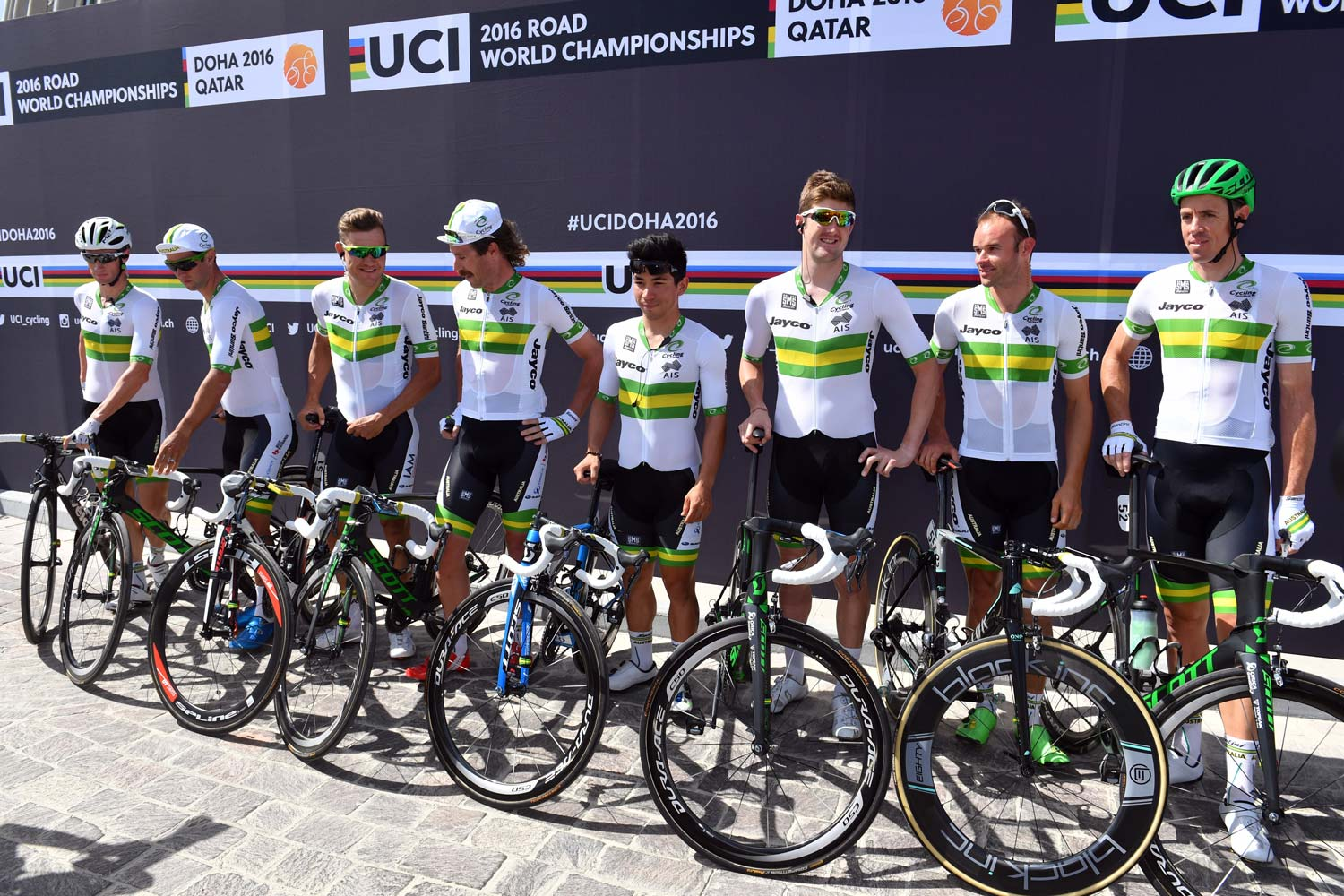 The Australian team in Qatar (from left to right): Mark Renshaw, Michael Matthews, Heinrich Haussler, Mitch Docker, Caleb Ewan, Luke Durbridge, Steele von Hoff and Mathew Hayman. Photo: Graham Watson