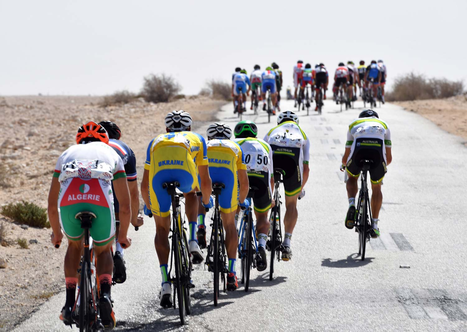 Break it down... the peloton split to pieces with around 170km to go. Photo: Graham Watson