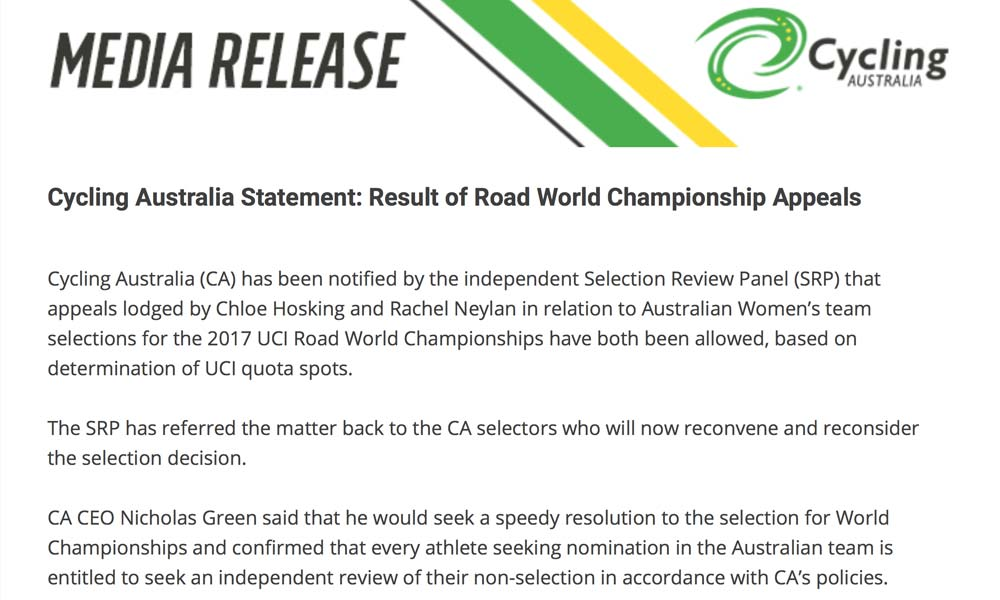 Cycling Australia: Hosking and Neylan appeal