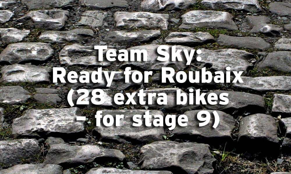 Explanation about Team Sky bikes for Roubaix stage