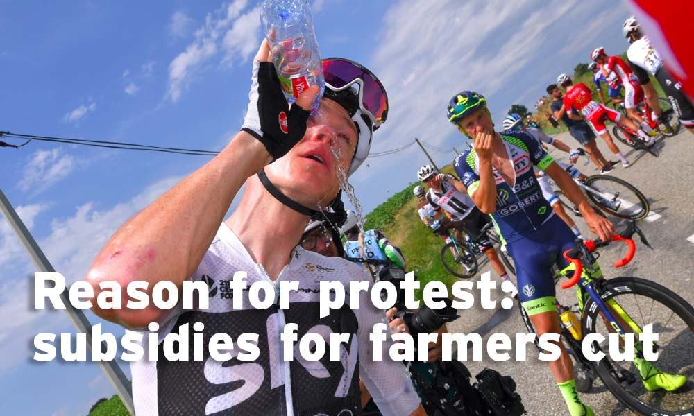 Concerns of the protestors: funding cuts for farmers
